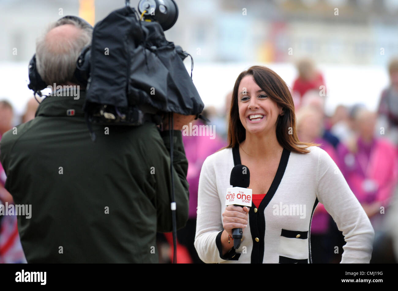 The One Show filming in Weymouth, Dorset, UK Presenter Lucy Siegle 13th August, 2012 PICTURE: DORSET MEDIA SERVICE - Stock Image