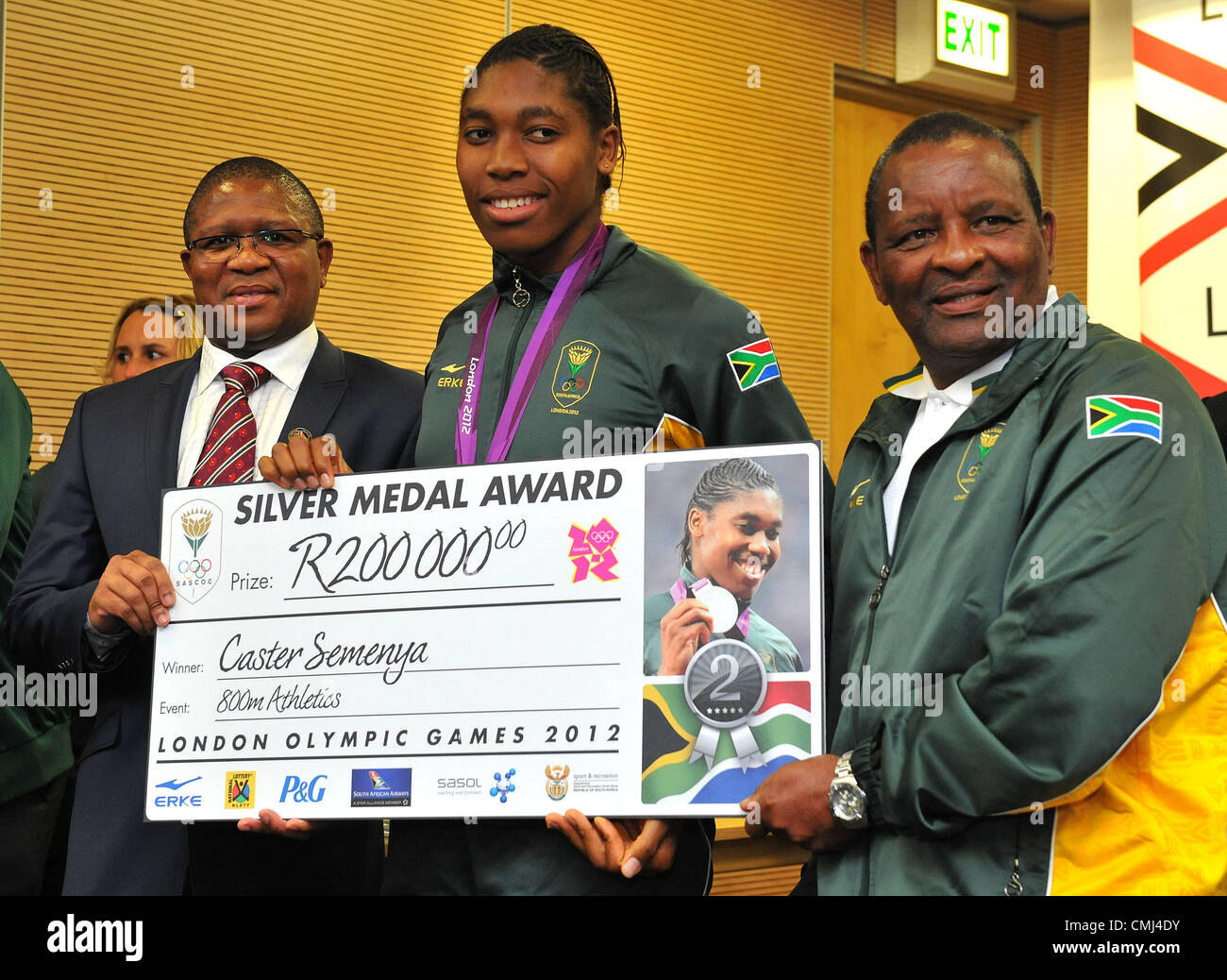 14th Aug 2012 Johannesburg, South Africa. Caster Semenya with Fikile Mdlalula and Gideon Sam during the South African - Stock Image