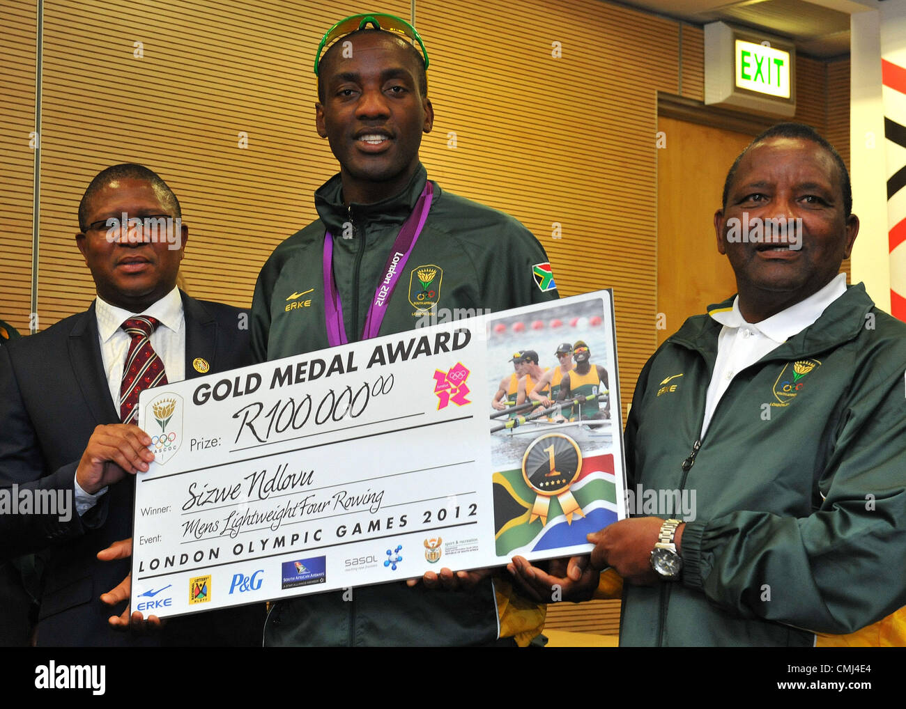 14th Aug 2012 Johannesburg, South Africa. Sizwe Ndlovu with Fikile Mdlalula and Gideon Sam during the South African - Stock Image