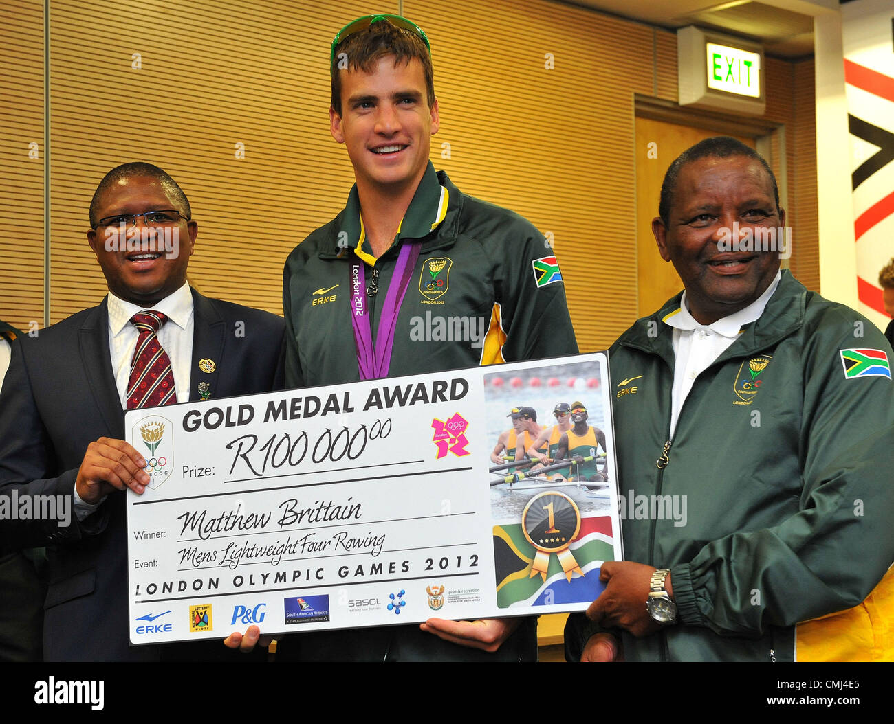 14th Aug 2012 Johannesburg, South Africa. Matthew Brittain with Fikile Mdlalula and Gideon Sam during the South - Stock Image