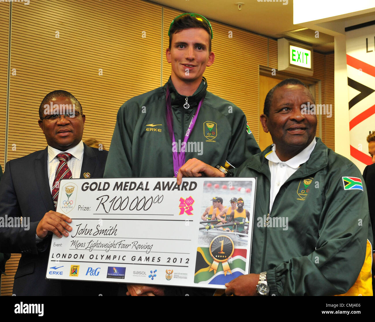 14th Aug 2012 Johannesburg, South Africa. John Smith with Fikile Mdlalula and Gideon Sam during the South African - Stock Image