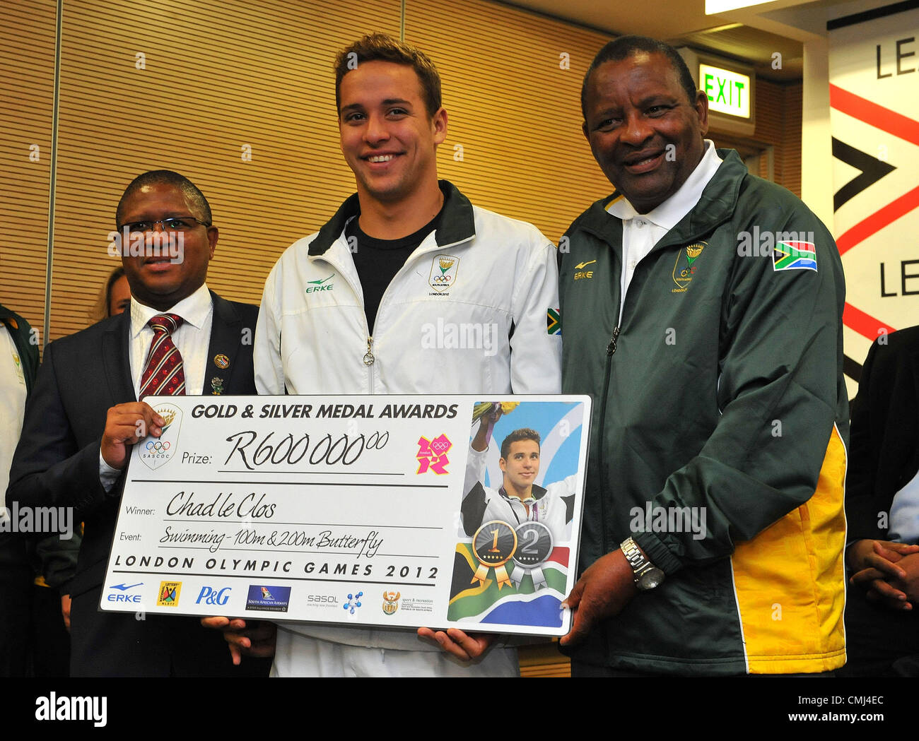 14th Aug 2012 Johannesburg, South Africa. Chad le Clos with Fikile Mdlalula and Gideon Sam during the South African - Stock Image