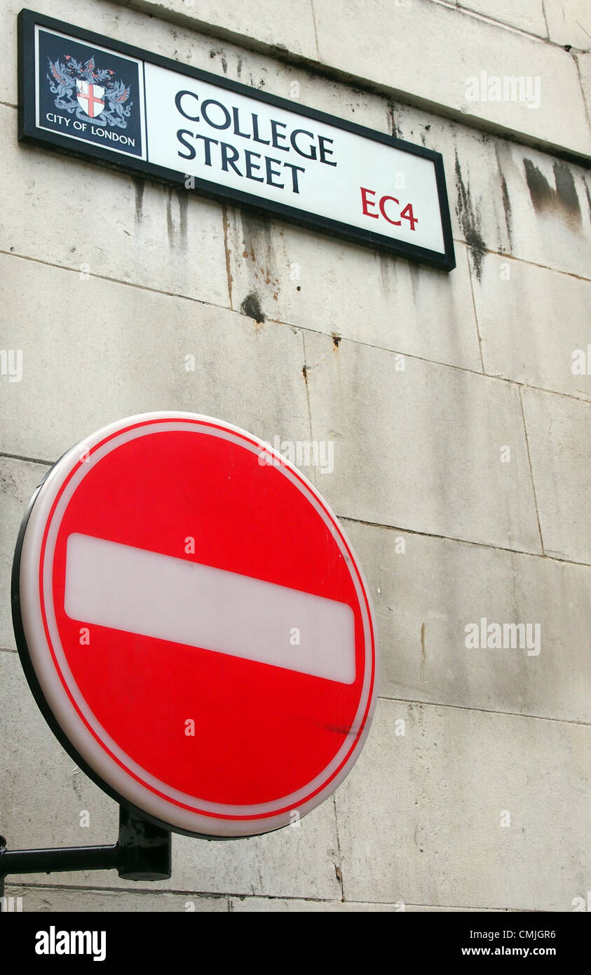 A no entry sign bars entry to College Street reflecting the fate of some A Level students.City of London, - Stock Image