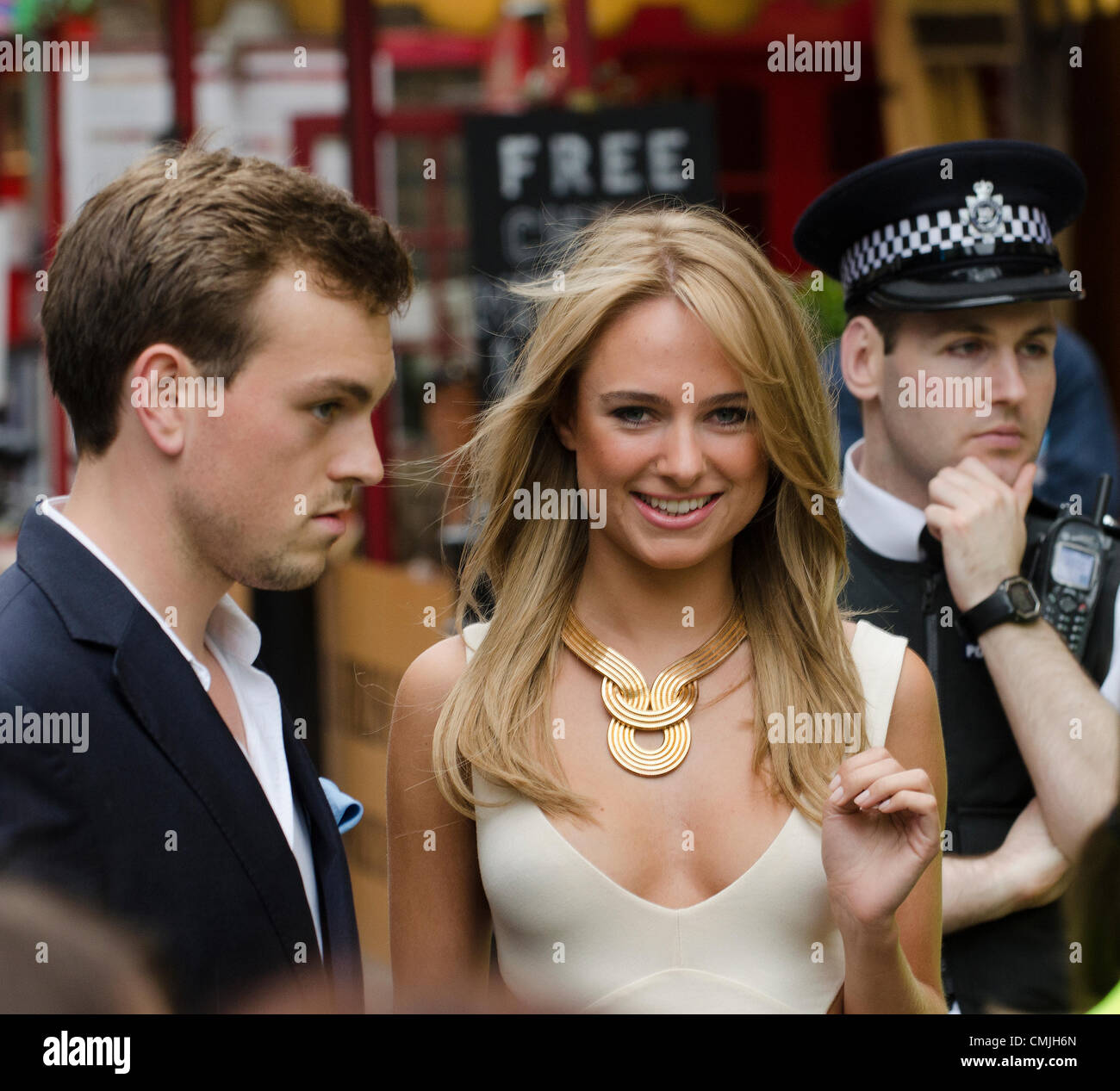 16th Aug 2012. Francis Boulle (L) and Kimberley Garner (r) of Made in Chelsea attend Total Recall Premiere Leicester - Stock Image
