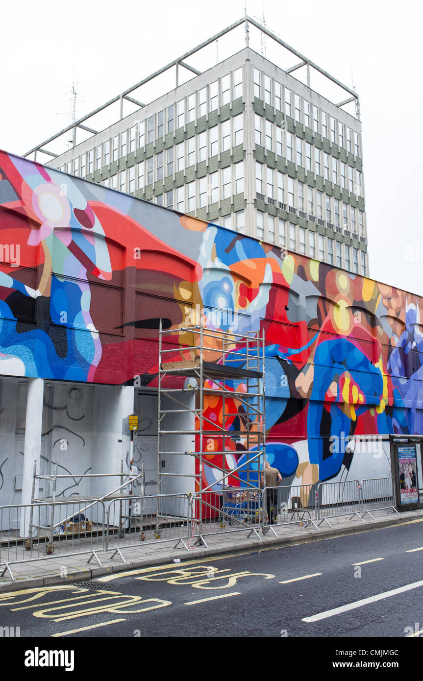 """""""Bristol, UK. Friday 17th August 2012. 'See No Evil' street art event in Nelson Street, Bristol."""" - Stock Image"""