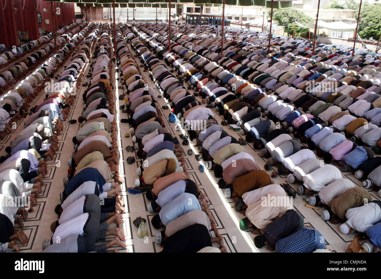 Faithful Muslims Offer Friday Prayer At A Memon Mosque During The Last Of Holy Month Ramazan Ul Mubarak In Karachi On FridayAugust 17