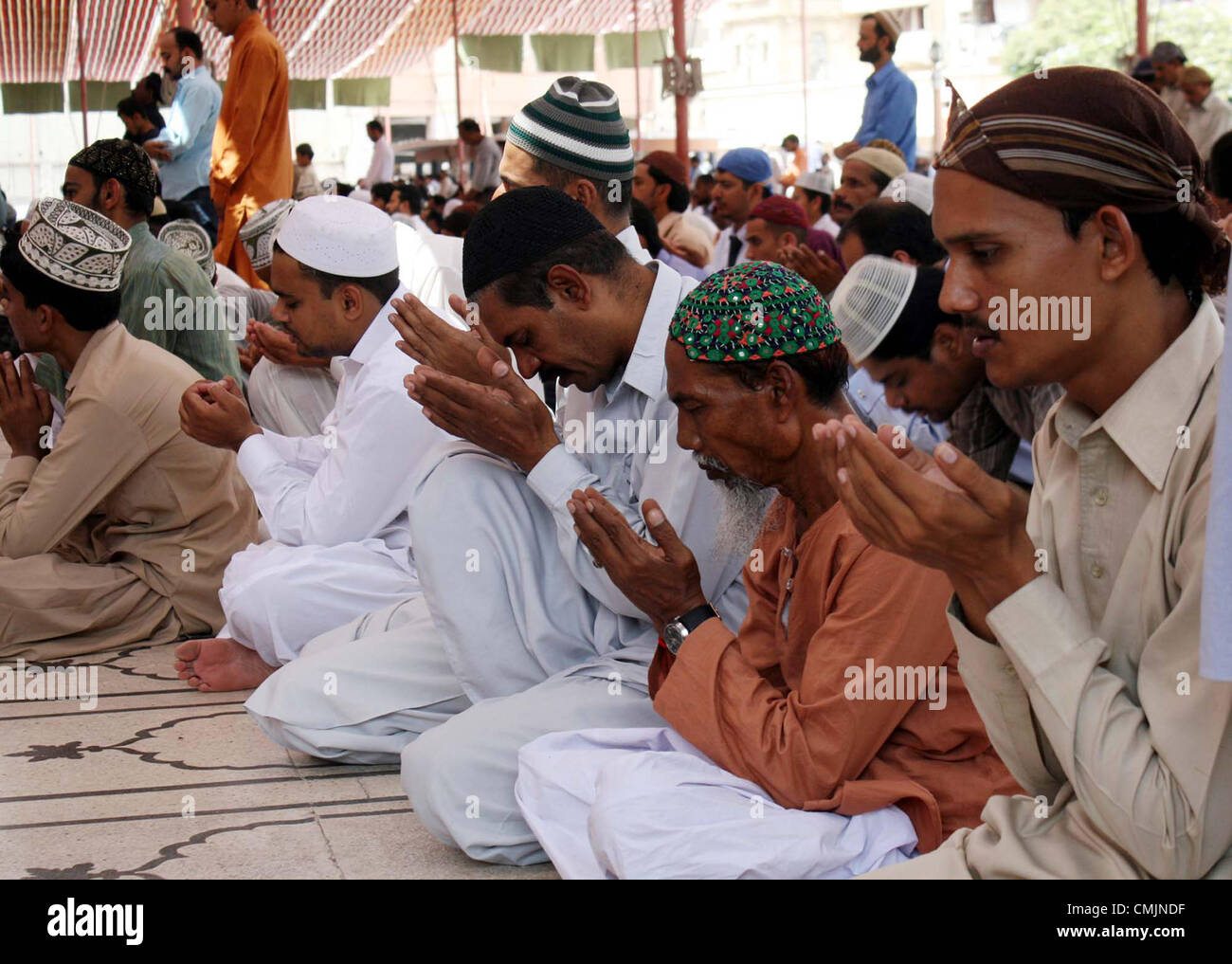 Faithful Muslims Offer Prayer At A Memon Mosque During The Last Friday Of Holy Month Ramazan Ul Mubarak In Karachi On FridayAugust 17 2012
