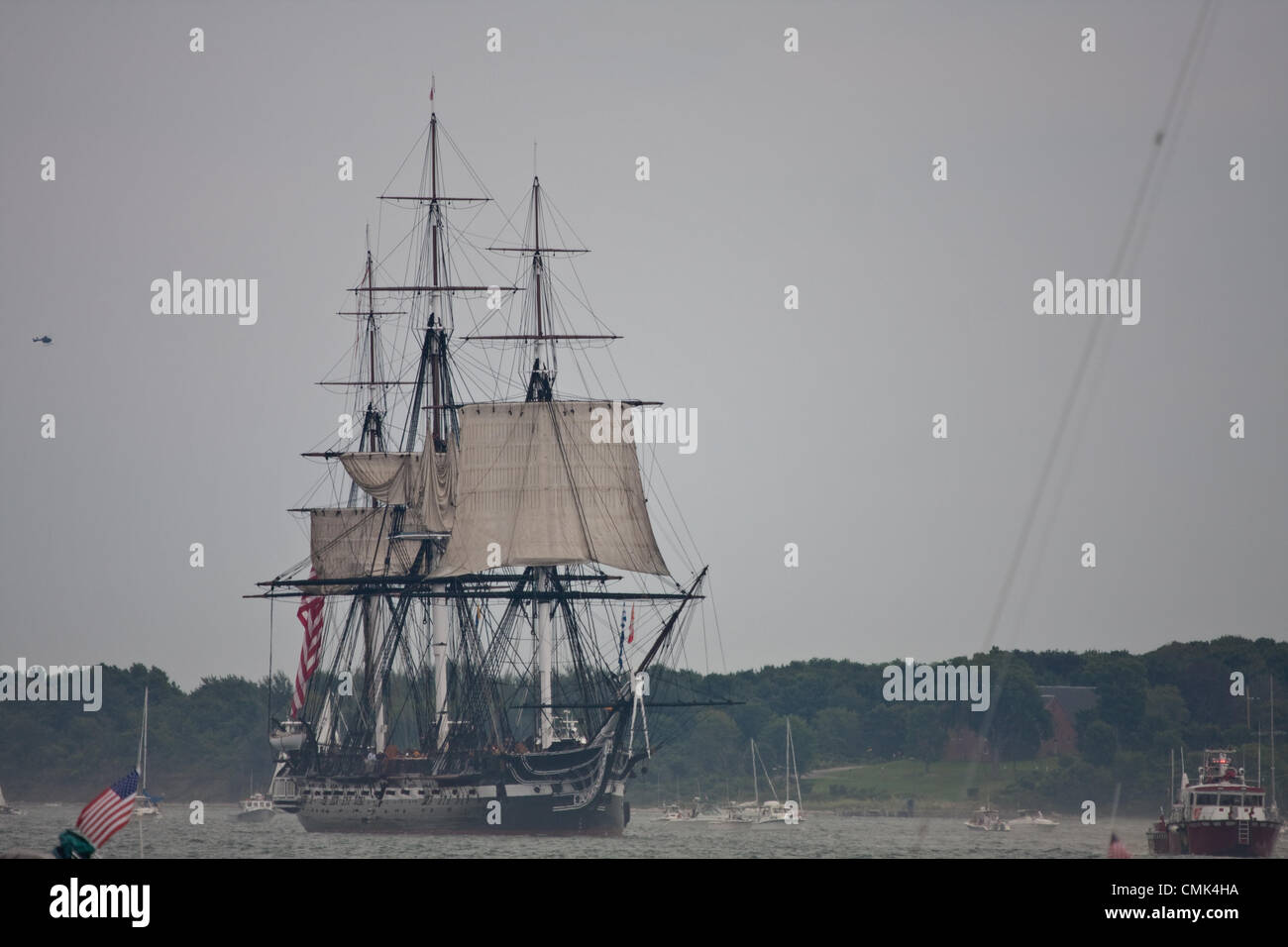 The USS Constitution marks the day  she defeated the British frigate HMS Guerriere and earned the nickname 'Old - Stock Image