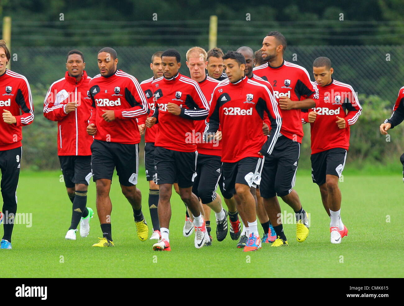 Pictured front row L-R: Ashley Williams, Scott Sinclair and Neil Taylor. Tuesday 21 August 2012  Re: Barclay's - Stock Image