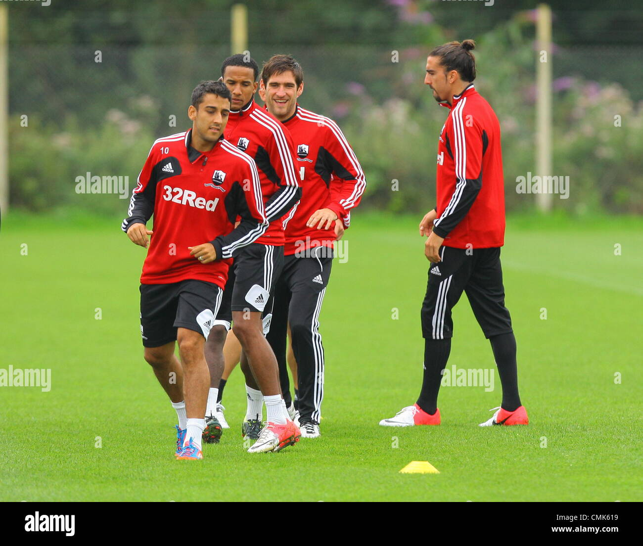 Pictured L-R: Neil Taylor, Scott Sinclair, Danny Graham and Chico Flores. Tuesday 21 August 2012  Re: Barclay's - Stock Image