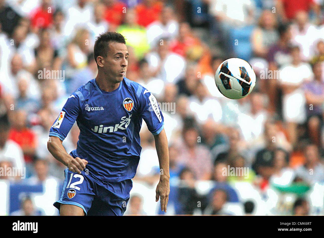 19.08.2012 Madrid, Spain. La Liga Football Real Madrid vs. Valencia CF - Joao Pereira - Stock Image