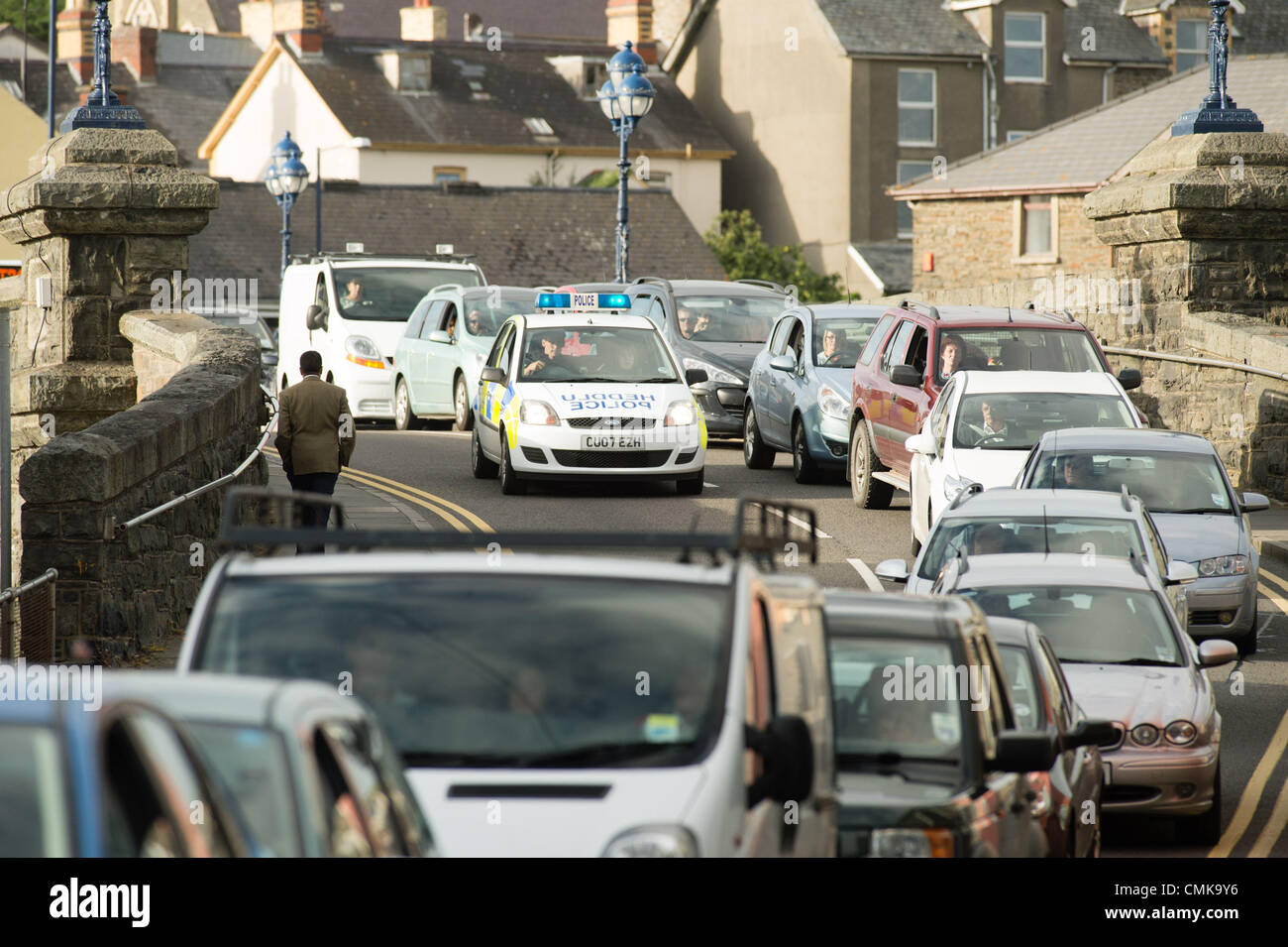 August 22 2012 Rush hour chaos in Aberystwyth as long tailbacks form after a cyclist was struck at around 5pm by - Stock Image