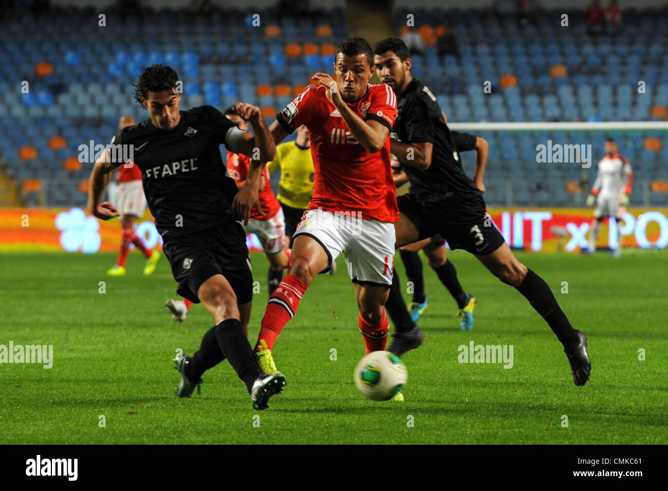 Benfica's Brazillian striker Lima vies for the ball with Academica defender João Real during the portuguese - Stock Image