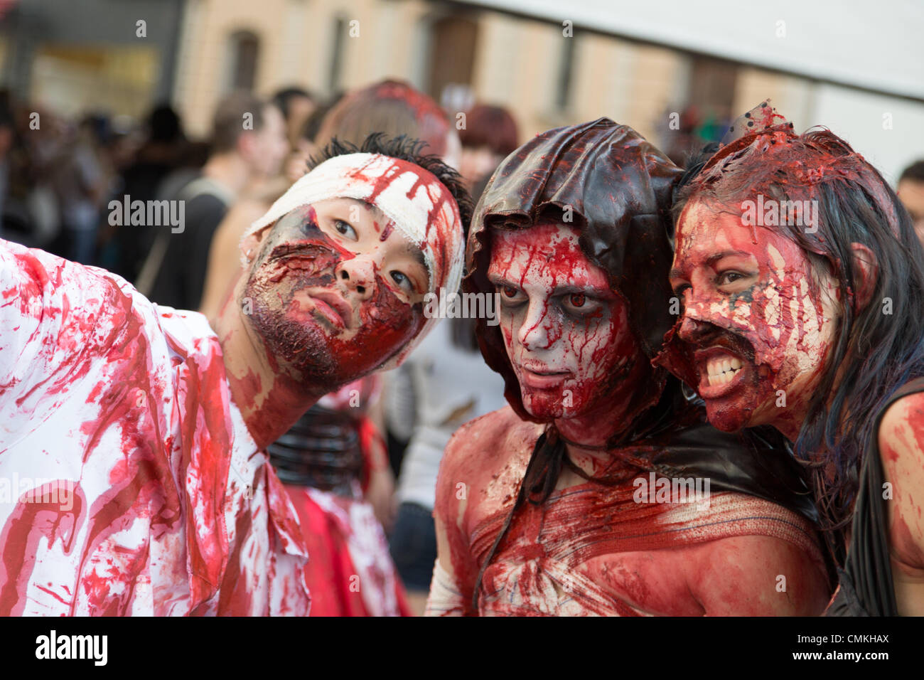 Sao Paulo, Brazil. 2nd Nov, 2013. The zombies are seen during the Sao Paulo Zombie Walk in Central Zone of the city. Stock Photo