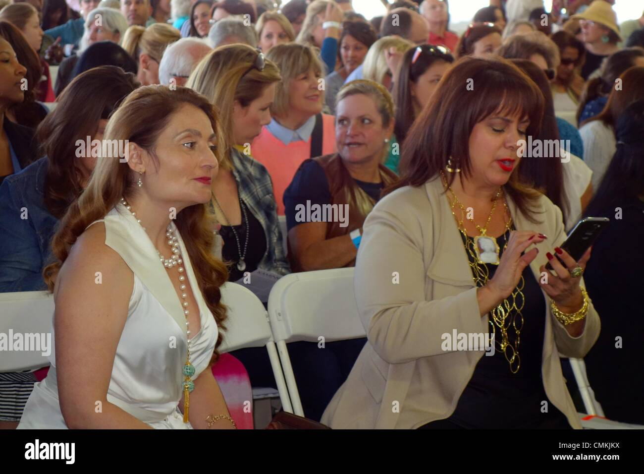 Oprah's auction - bidders in the VIP section of the audience - Stock Image