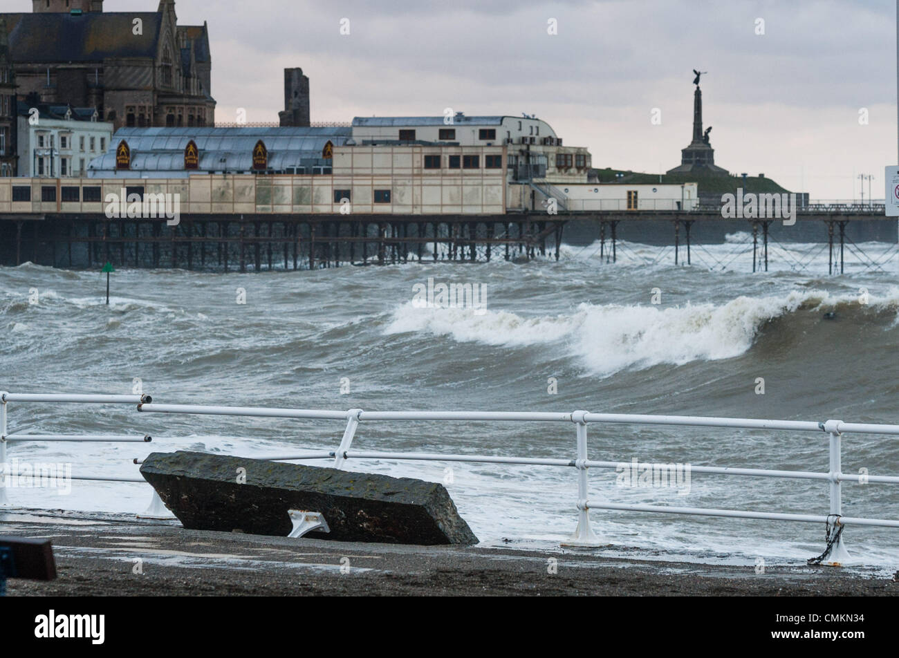 Aberystwyth Wales UK , Sunday 3 November 2013  The morning after the 80mph winds and huge waves struck Aberystwyth - Stock Image