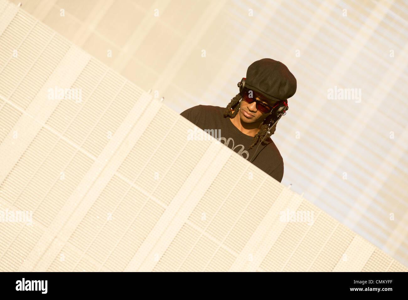 New Orleans, Louisiana, USA. 3rd Nov, 2013. Electronic rock artist MAXIM REALITY (aka KEITH PALMER) performs at Stock Photo