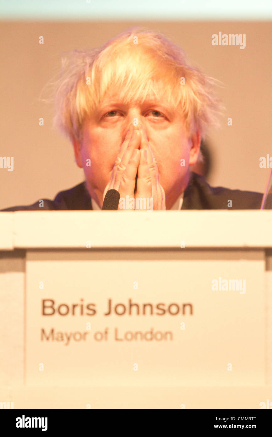 South Kensington London, UK.  London Mayor Boris Johnson attends People's Question time at Imperial college  with Stock Photo