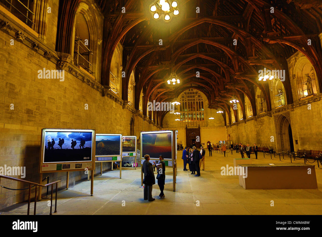 London, UK. 5th November 2013. Fields of Battle Lands of Peace 14-18 pre-launch exhibition at Westminster Hall, - Stock Image