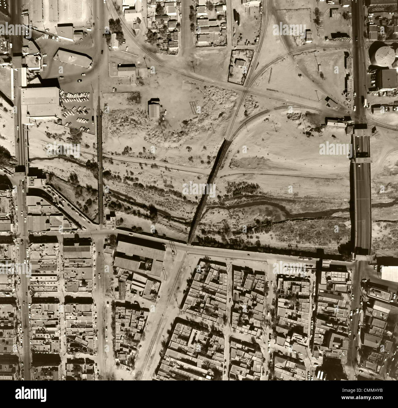 historical aerial photograph Mexican American border El Paso Texas
