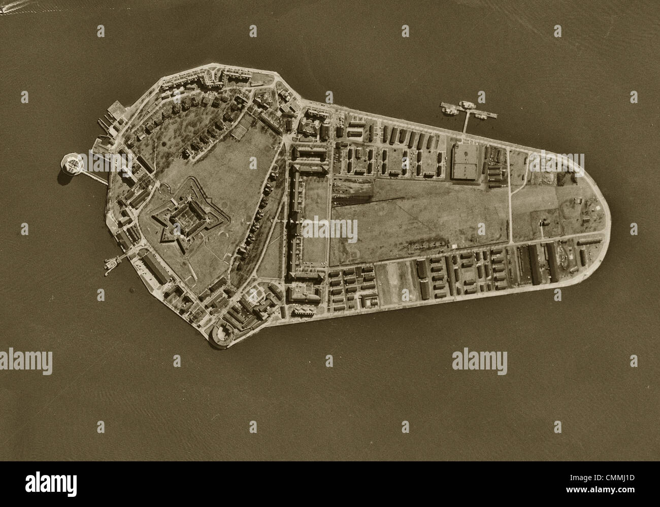 aerial photo map Governors Island, New York City, 1954 Stock Photo on