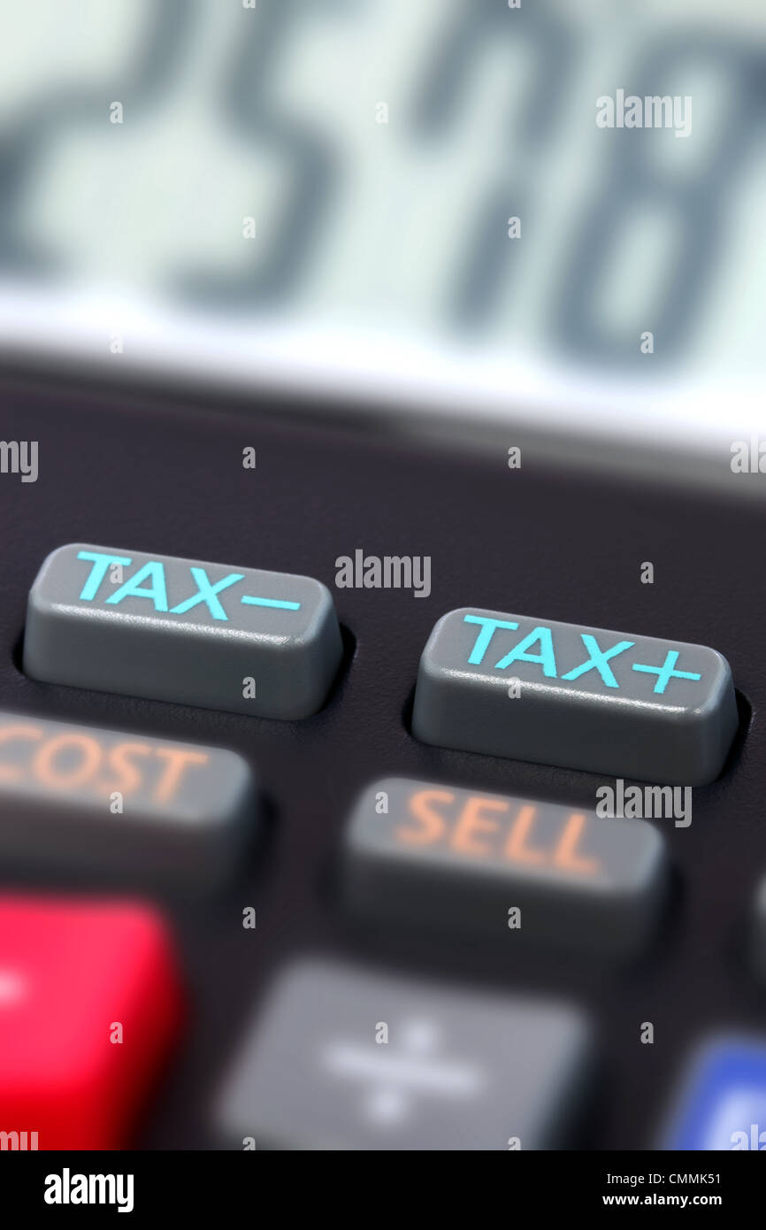 Close up photo of the tax buttons on a calculator - Stock Image