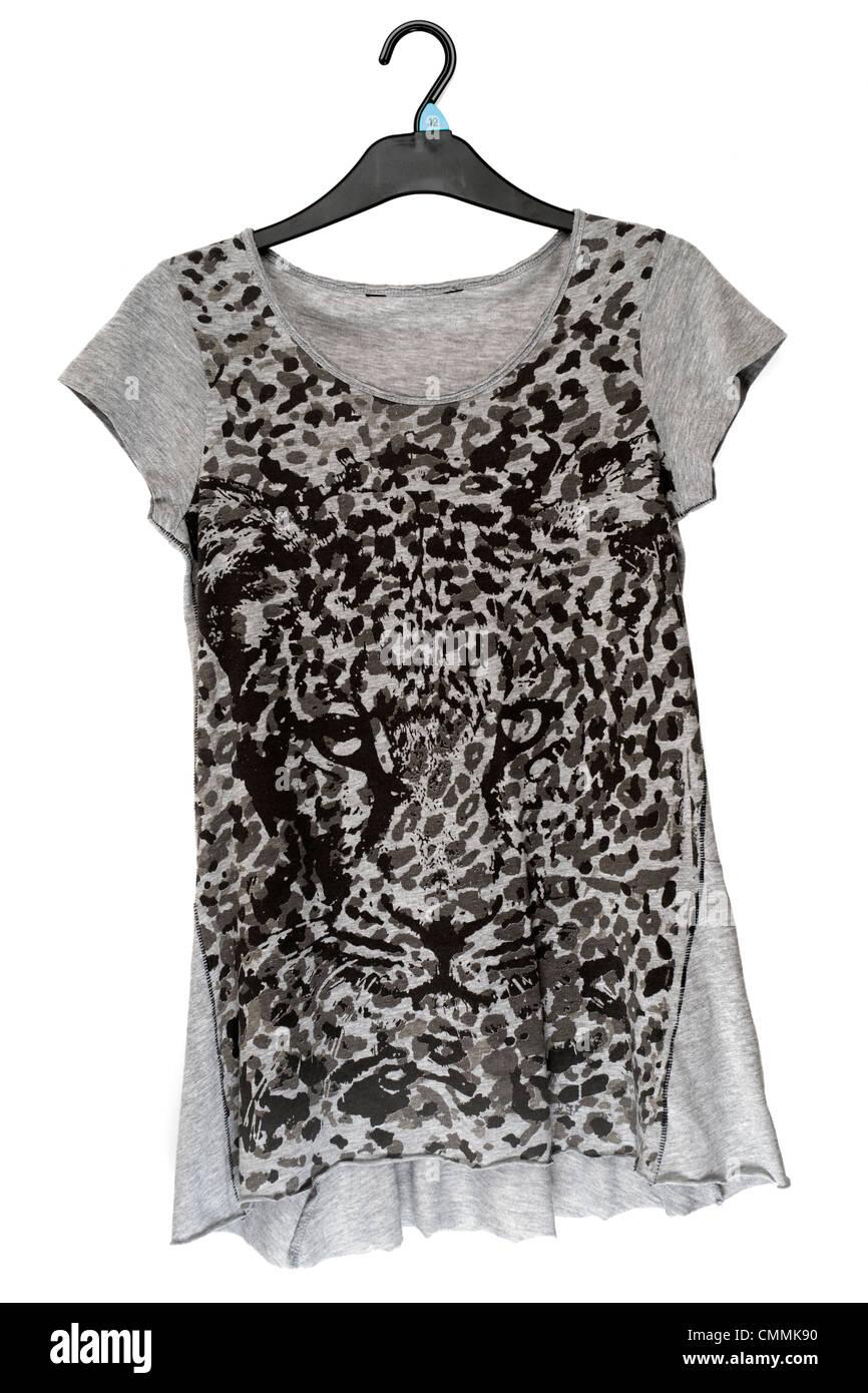 ladies gray and black leopard print tee shirt - Stock Image