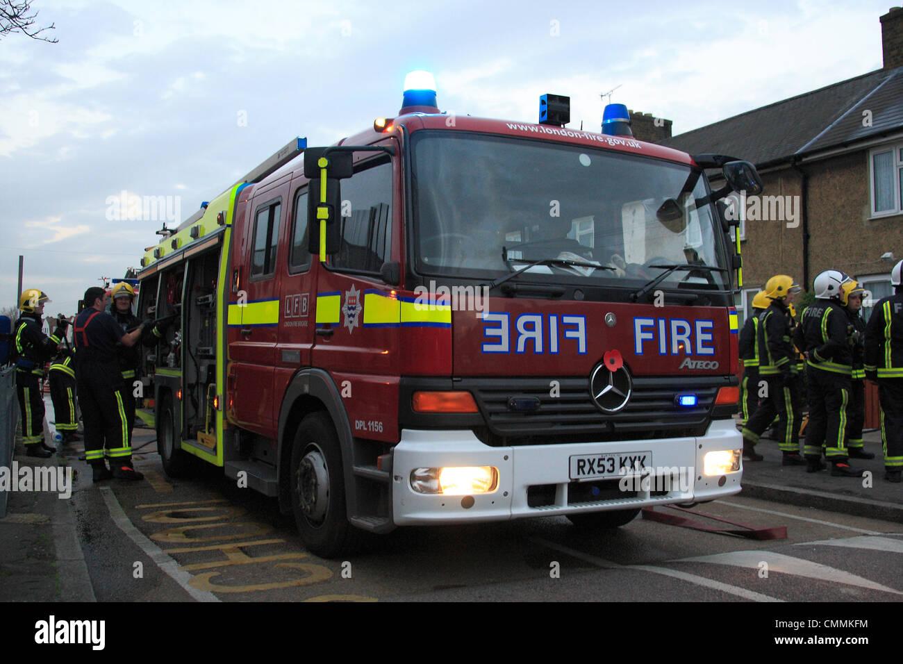 London Fire Brigade Mercedes Fire Engine At The Scene Of A Fire In Dgaenham    Stock