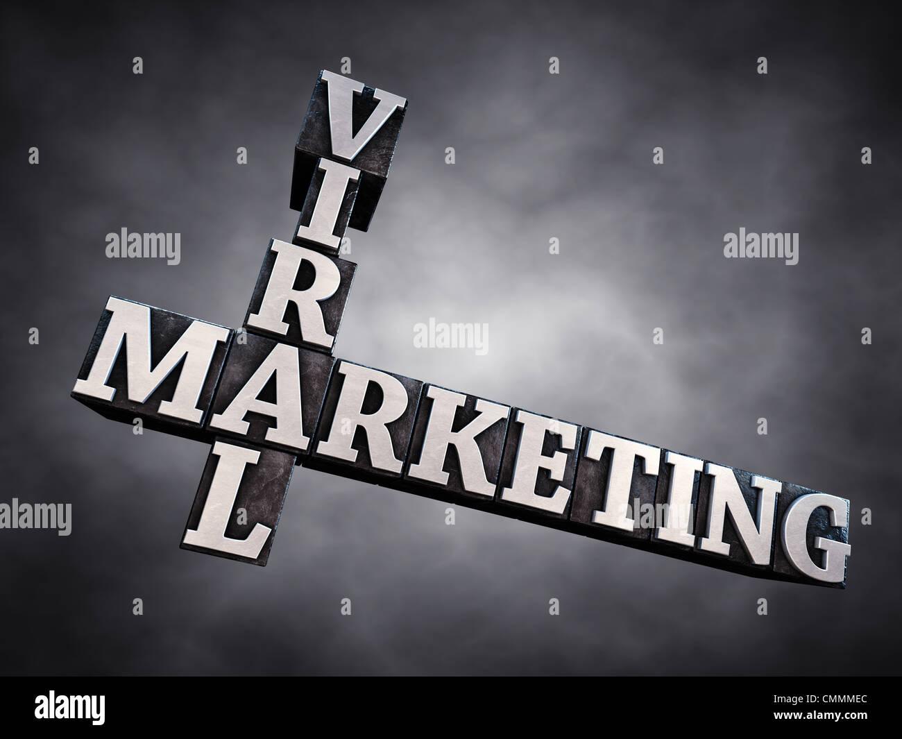 Viral marketing , letterpress typesetting on dark background , 3d illustration - Stock Image