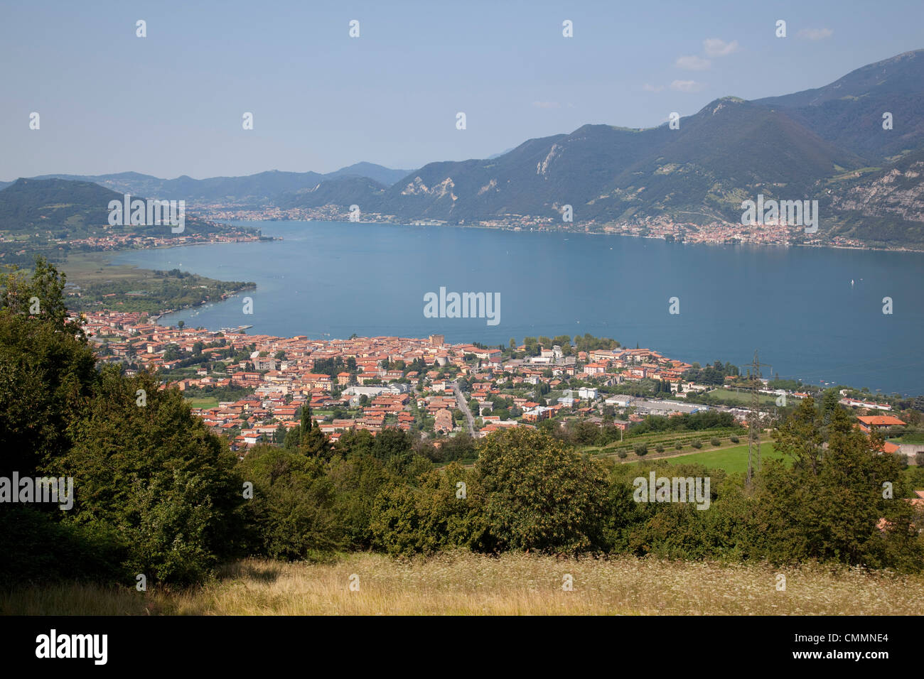 Iseo and view of Lake Iseo, Lombardy, Italian Lakes, Italy, Europe - Stock Image