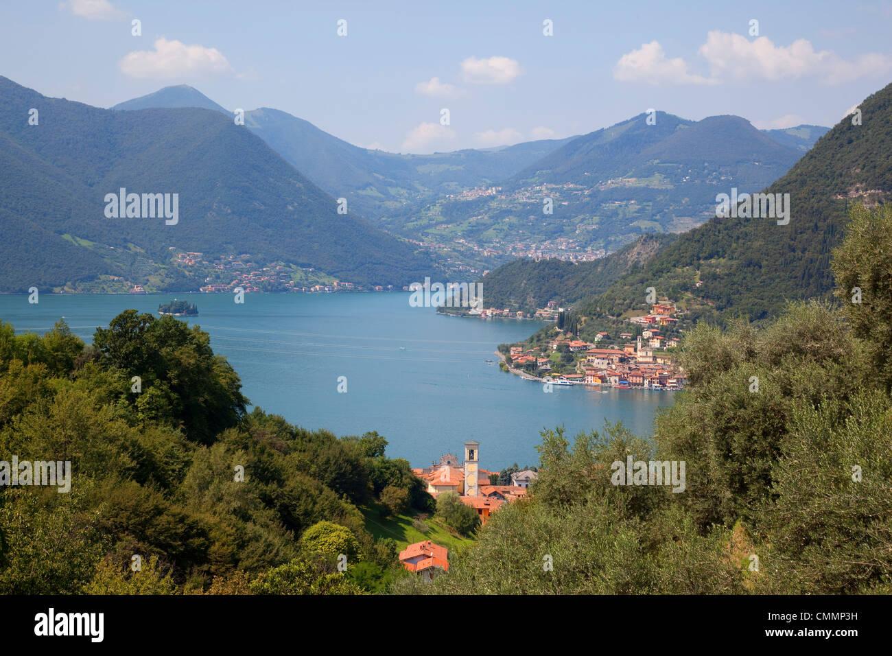View of Lake Iseo near Sulzano, Lombardy, Italian Lakes, Italy, Europe - Stock Image