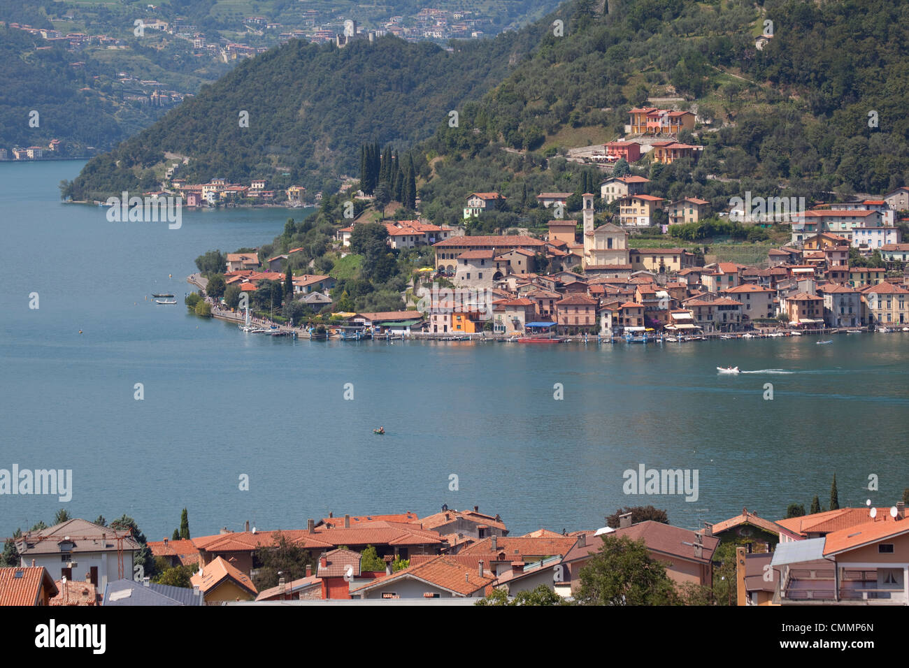 View of Monte Isola from near Sulzano, Lake Iseo, Lombardy, Italian Lakes, Italy, Europe - Stock Image