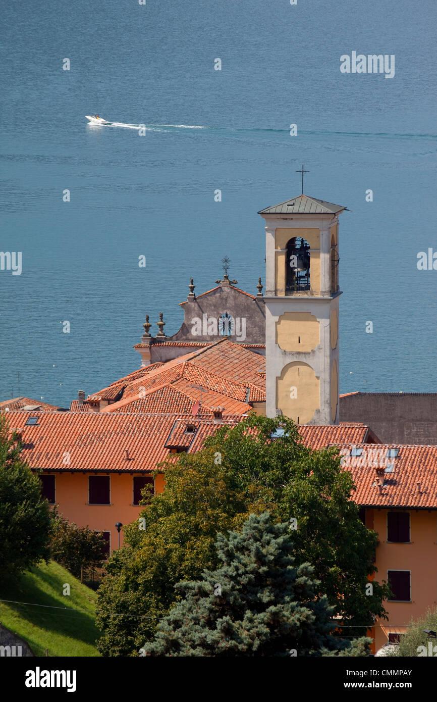 Church belltower, Sulzano, Lake Iseo, Lombardy, Italian Lakes, Italy, Europe - Stock Image