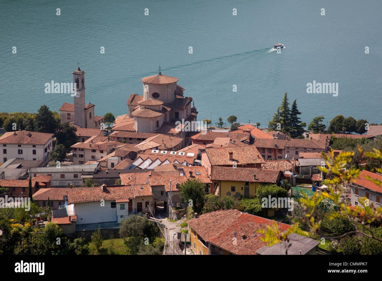 View of Sale Marasino and Lake Iseo, Lombardy, Italian Lakes, Italy, Europe - Stock Image