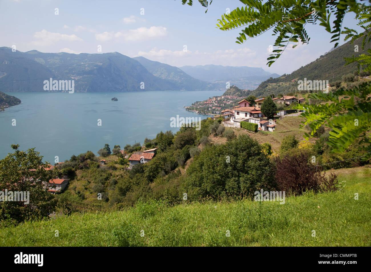View toward Marone from near Sale Marasino, Lake Iseo, Lombardy, Italian Lakes, Italy, Europe - Stock Image