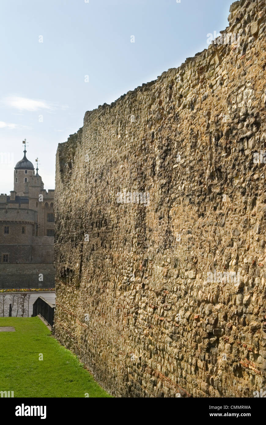 London Wall. At Tower Hill, Tower of London in background. London Uk - Stock Image