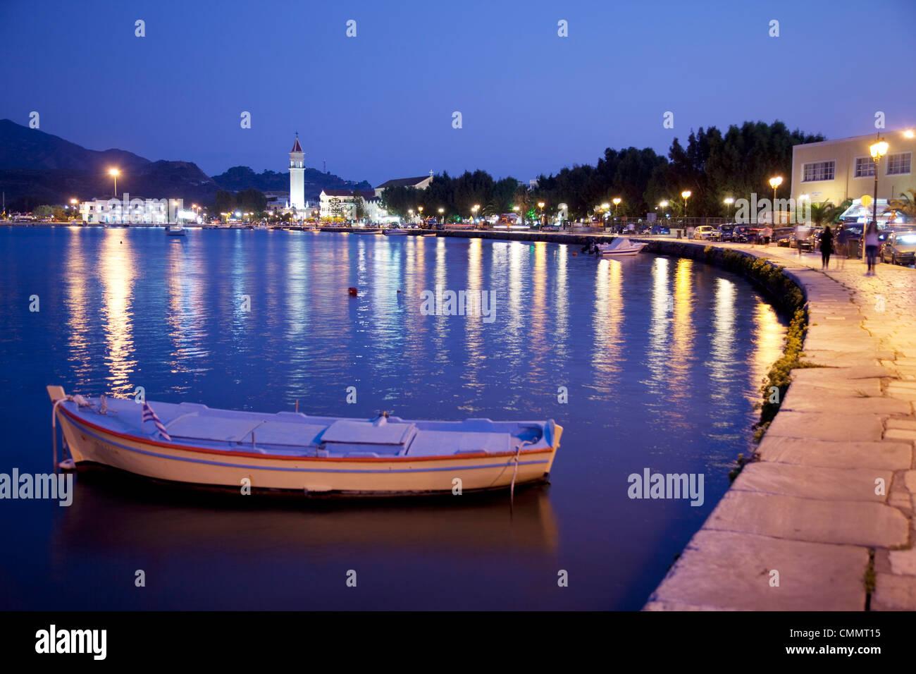 Harbour at dusk, Zakynthos Town, Zakynthos, Ionian Islands, Greek Islands, Greece, Europe - Stock Image