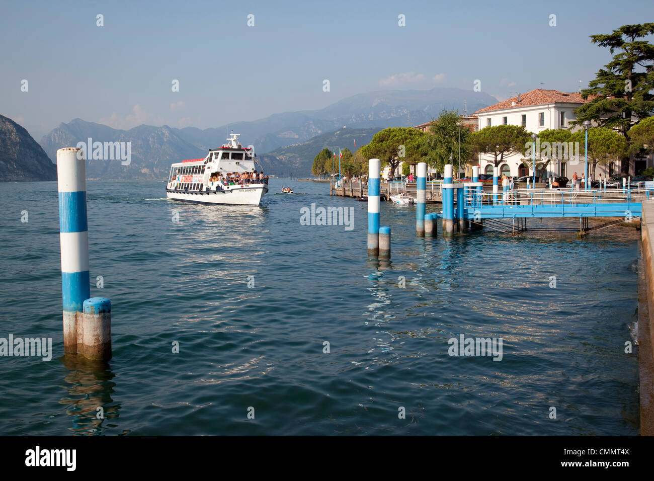 Harbour and sightseeing boat, Iseo, Lake Iseo, Lombardy, Italian Lakes, Italy, Europe - Stock Image