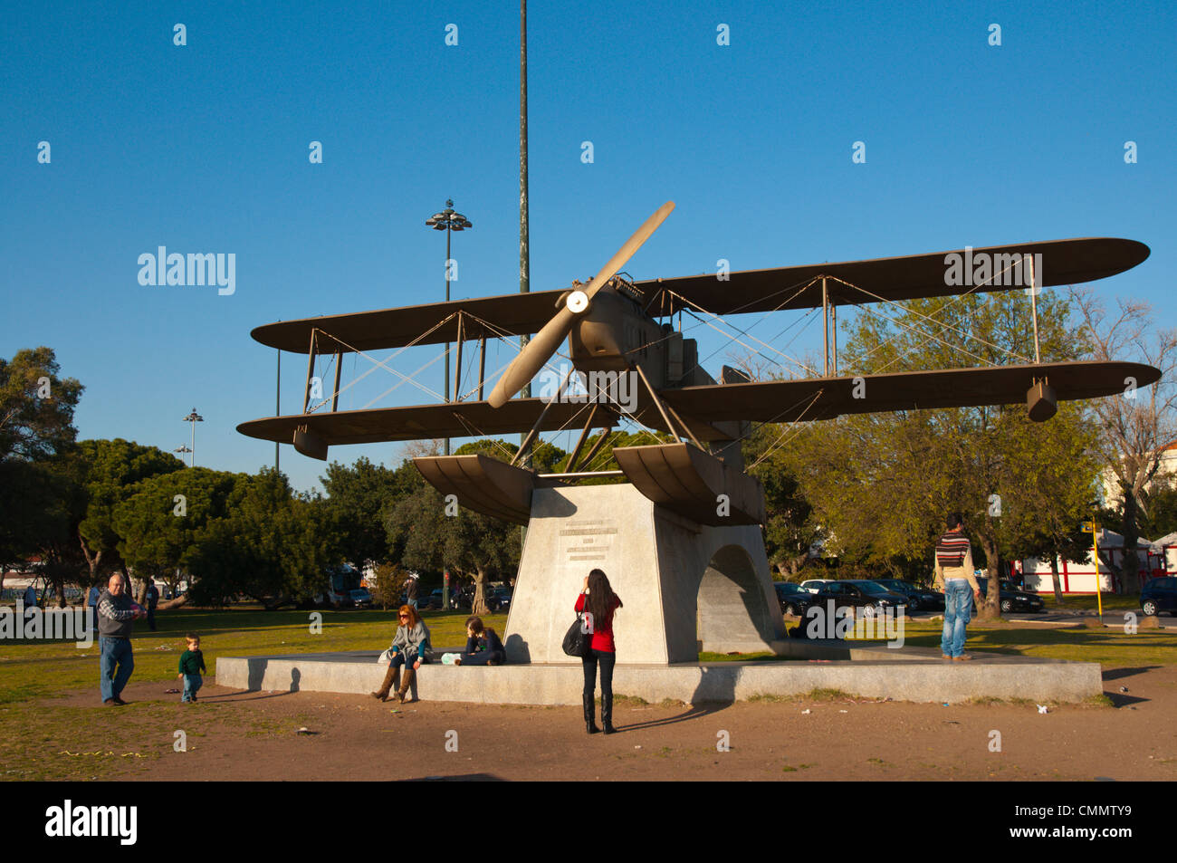 Replica of wartime Santa Cruz aeroplane that transported people to Canary Islands in Belem district Lisbon Portugal - Stock Image