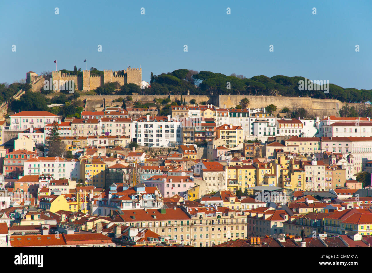 Baixa and Alfama district with Castelo de Sao Jorge fortress central Lisbon Portugal Europe - Stock Image