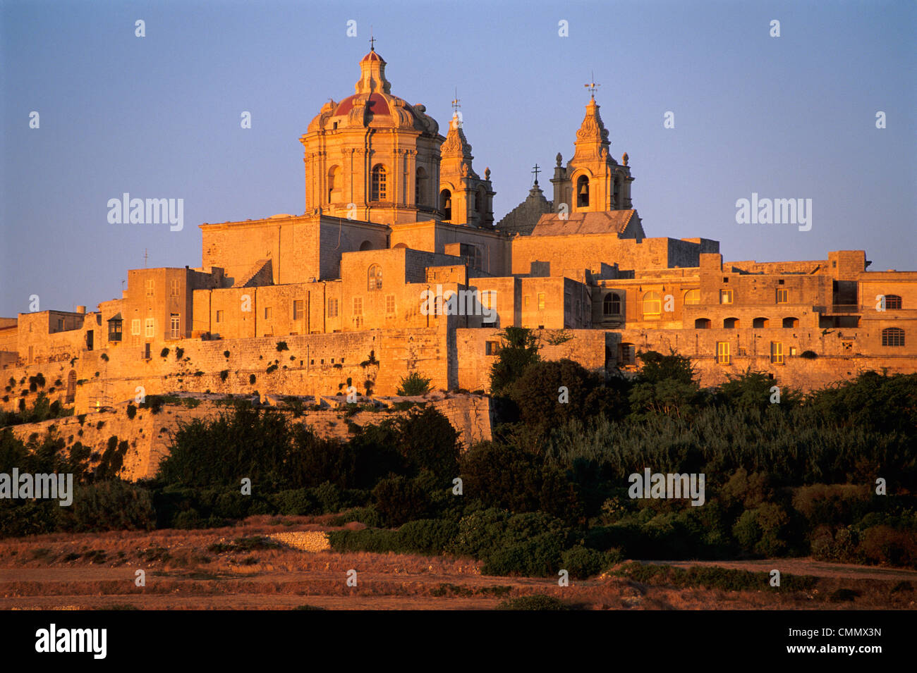 St. Paul's Cathedral and city walls, Mdina, Malta, Mediterranean, Europe Stock Photo