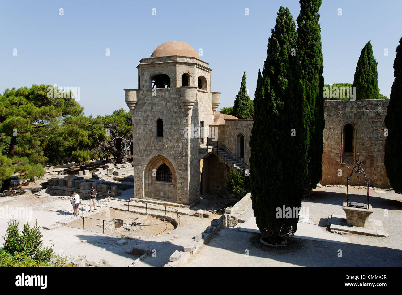 Rhodes. Greece. View of the 14th century golden walled Church of our Lady which was built by the Knights of St John - Stock Image