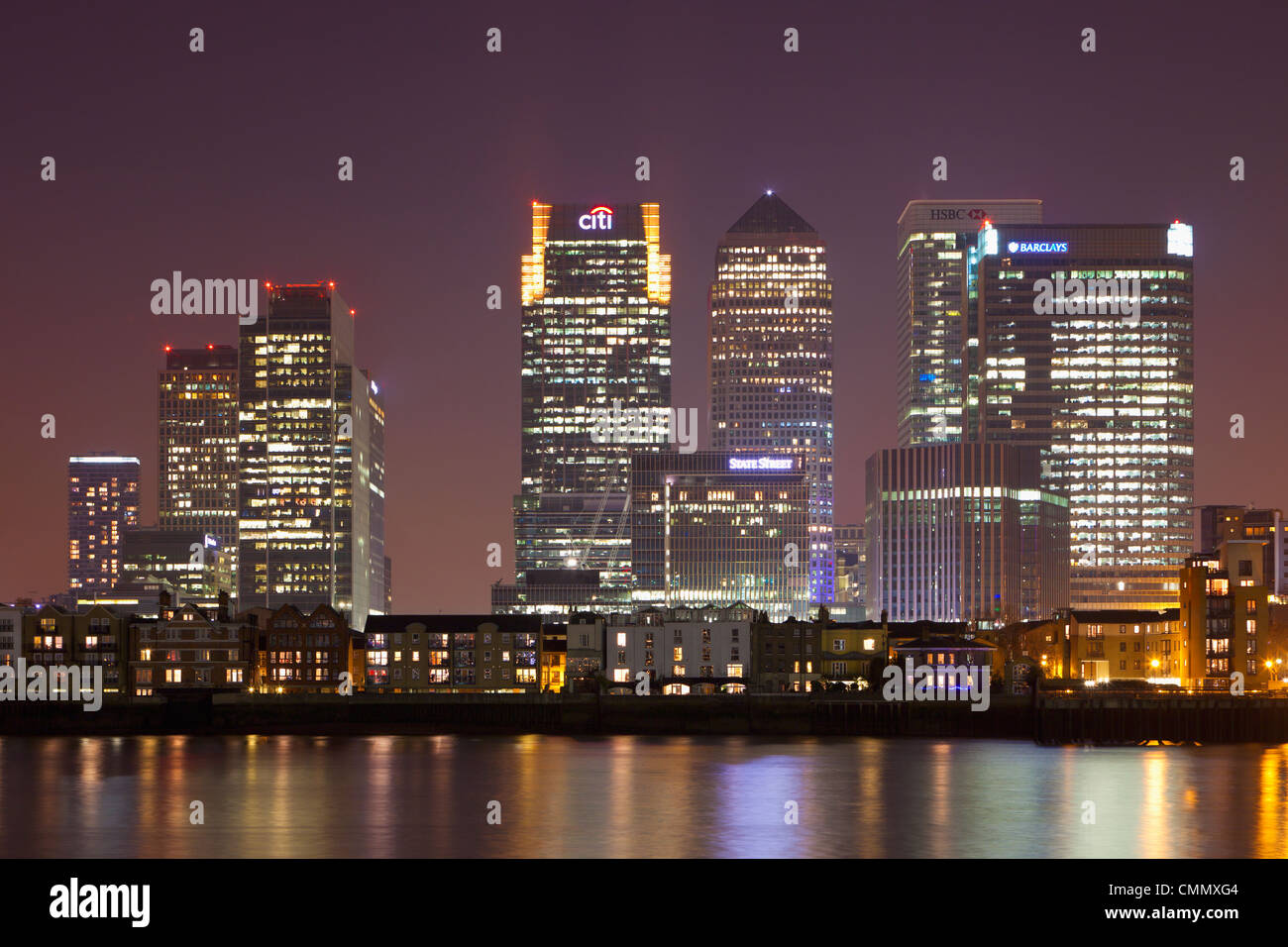 Canary Wharf financial district viewed over the river Thames, London, UK - Stock Image