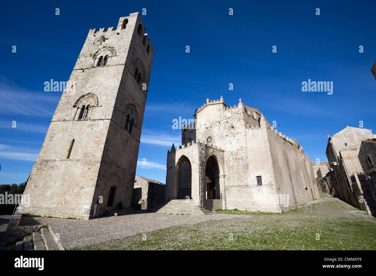 The Duomo, Erice, Sicily, Italy, Europe - Stock Image