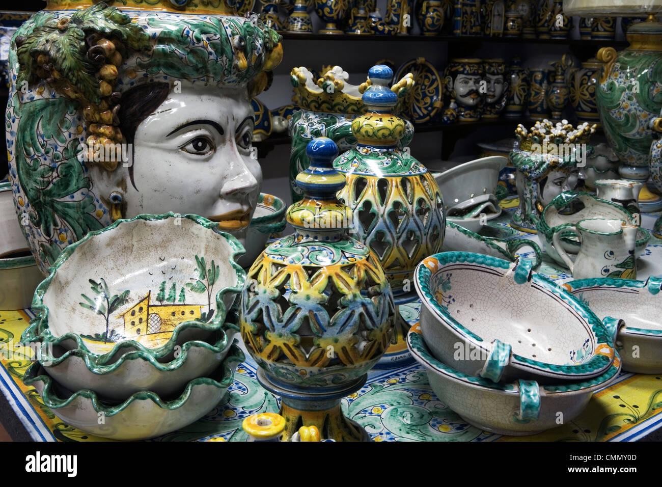 Locally made ceramics, Caltagirone, Sicily, Italy, Europe - Stock Image