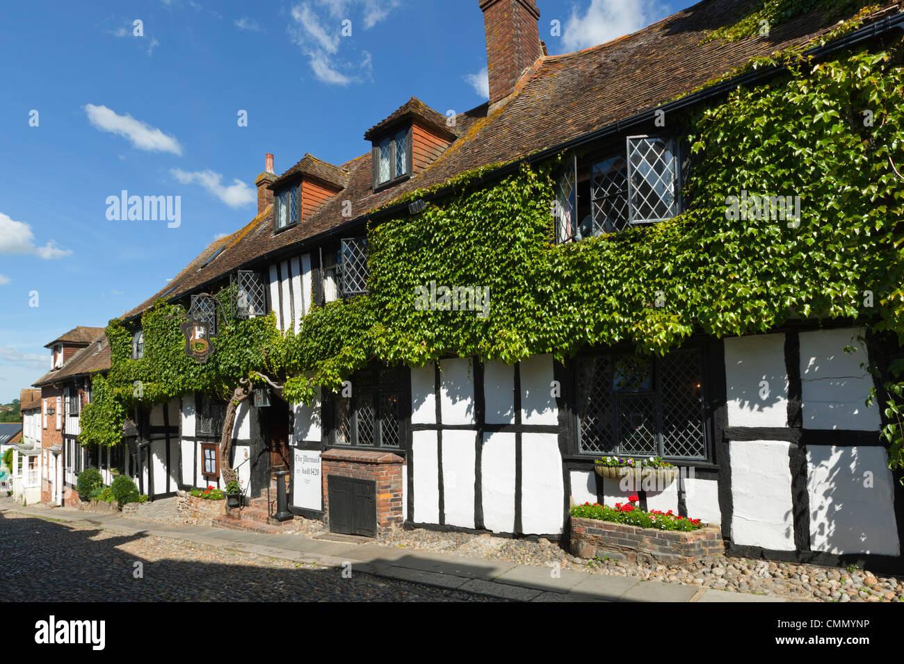 Mermaid Inn, Mermaid Street, Rye, East Sussex, England, United Kingdom, Europe - Stock Image