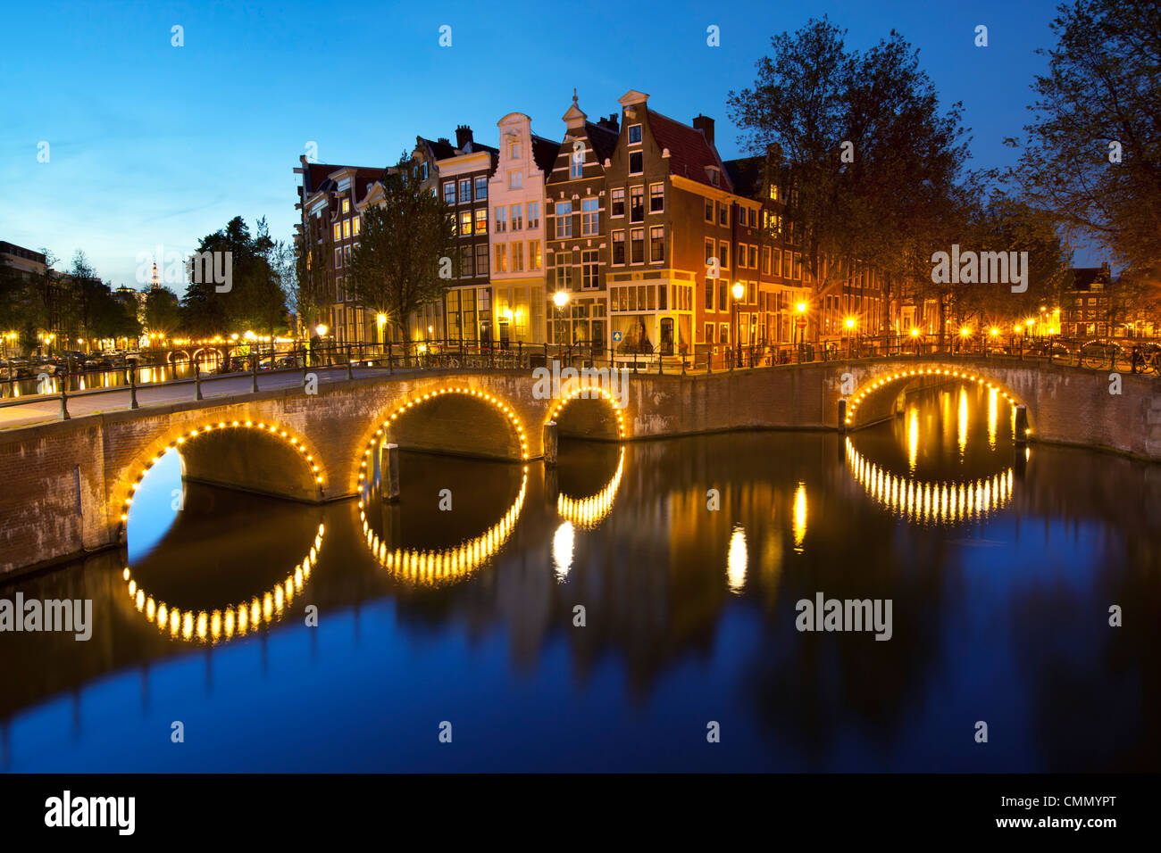 Keizersgracht at night, Amsterdam, North Holland, Netherlands, Europe - Stock Image
