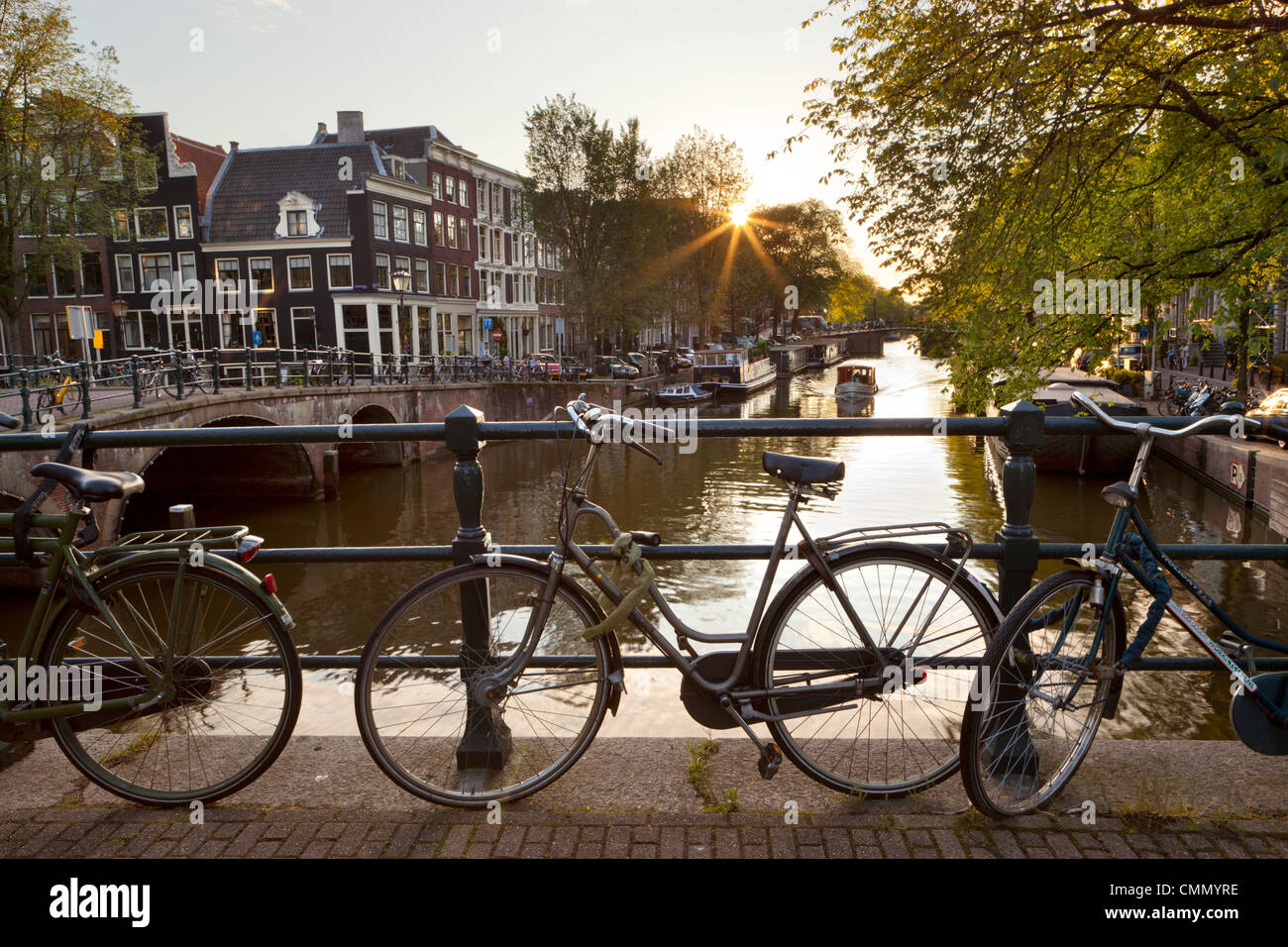 Brouwersgracht and bicycles, Amsterdam, North Holland, Netherlands, Europe - Stock Image