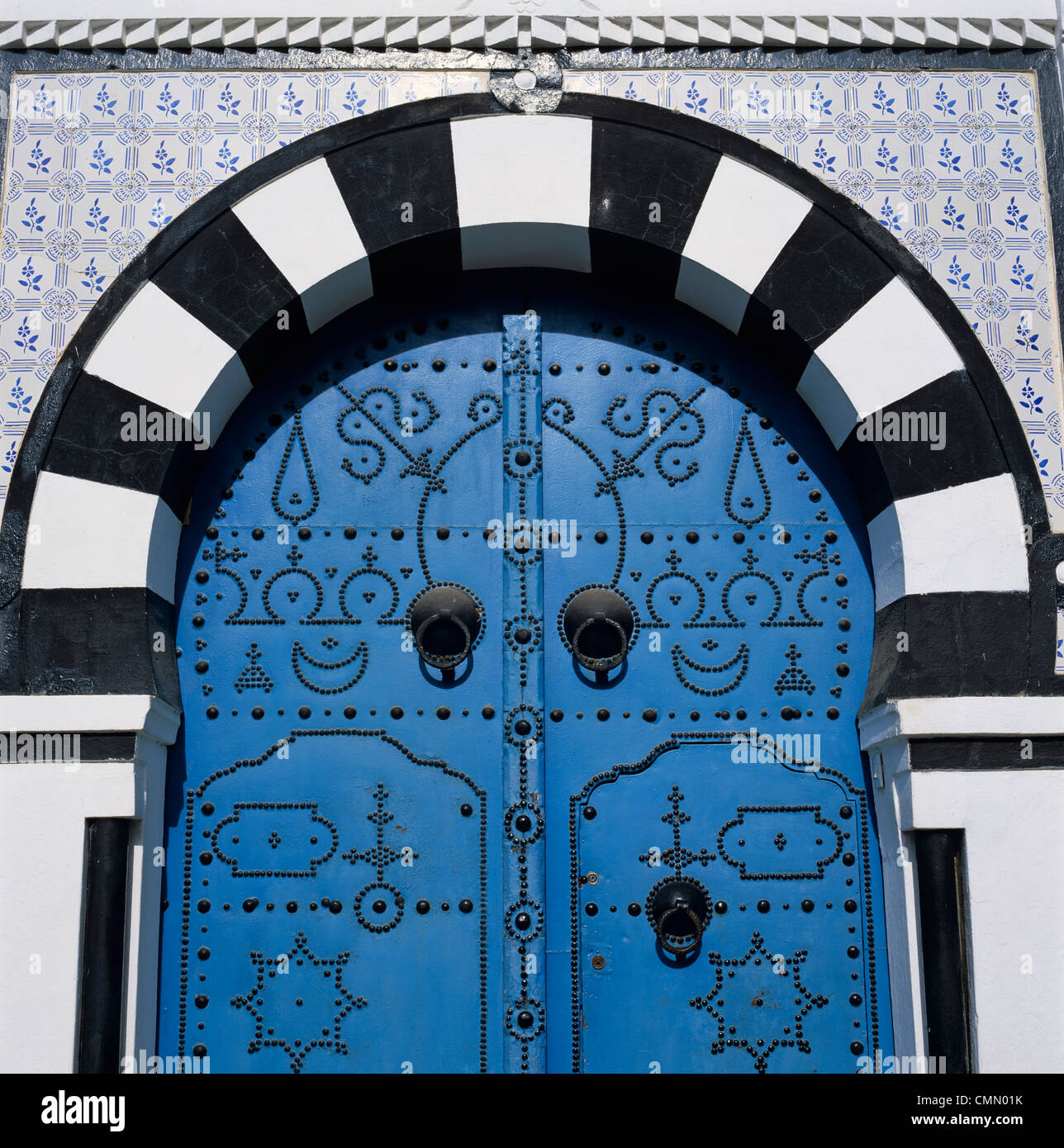 Traditional Tunisian doorway, Sidi Bou Said, Tunisia, North Africa, Africa Stock Photo
