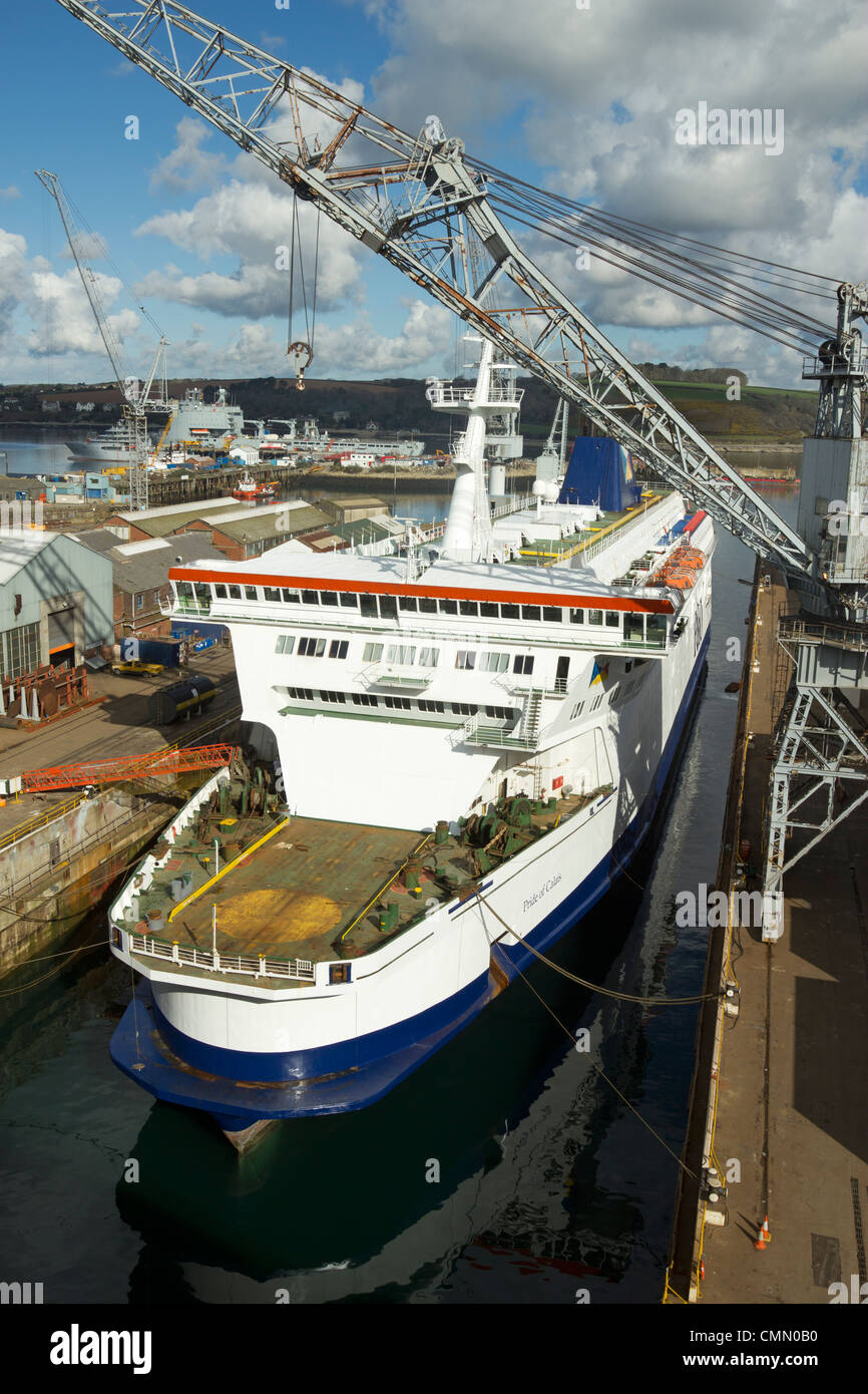 The P&O MS Pride of Calais ferry in a Falmouth dockyard dry dock for an annual refit. - Stock Image